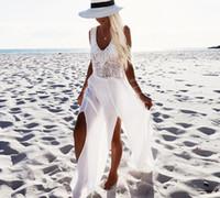 falda dividida bikinis al por mayor-Nuevos vestidos de verano de gasa costura Bikini Beach falda borla Split mujeres vestidos blancos