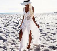 saias de praia brancas venda por atacado-Verão Novos Vestidos Chiffon Costura Bikini Praia Saia Borla Dividir Mulheres Vestidos Brancos