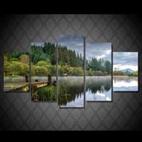 ingrosso dipinti astratti acqua-5 Pcs Canvas Wall Art Pictures Home Decor Quadro Verde acqua dipinti ad acqua per soggiorno HD Prints Poster astratti