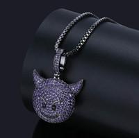 пурпурные бриллиантовые подвески оптовых-Мода Мужчины Женщины фиолетовый Дьявол Emoji кулон ожерелье мужские микро проложить цирконий имитация алмазов с 24 дюймов коробка цепи подарки коробка