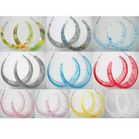 Wholesale Acrylic Flower Earrings - Acrylic Hoop Earrings Mix 10 Styles Stripe Floral Heart Circle Lots Women Eardrop ( Green Blue Gray Red Pink Purple Yellow White )(JE013)