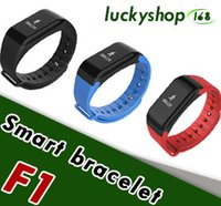 Wholesale wireless heart rate monitor sport - F1 Smart Wristbands With Heart Rate Monitor Blood Pressure Function Wireless Fitness Sports Tracker for IOS and Android Phone