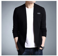 mens ince sığan hırka kazak toptan satış-Erkek Sıcak Örgü Hırka Ceket Kaban Kore Kazak Sıcak Slim Fit Erkekler Kalın Hırka Ceket Kaban Erkek Sonbahar Kış Uzun Kazak Ceket Erkek