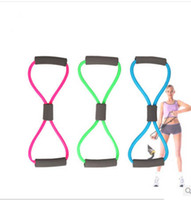 тренировочные группы оптовых-Resistance Training Bands Tube Workout Exercise for Yoga 8 Type Body Building Fitness Equipment Tool