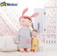 Wholesale plush yellow bunny for sale - 34cm cute rabbit stuffed cloth doll plush toy Metoo angela baby bunny doll appeases toy children brithday gift girls room decorative YA0282