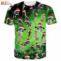 Wholesale Wholesale Galaxy Shirts - Alisister Summer Style Harajuku T Shirt Women men 3d T Shirt Christmas Cat T-Shirt Galaxy Space Christmas Gift Tee Tops XXXL 4XL