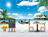 летние фоны оптовых-3d обои пользовательские фото нетканые росписи летний пляж Коко лодка воздушный шар пейзаж фреска фон muals обои для стен 3 d