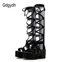 botas abiertas de la plataforma del dedo del pie al por mayor-Gdgydh 2018 Moda Gamuza Mediados de Becerro Botas de Mujer Cordones Zapatos de Plataforma de Tacón Alto Zapatos de Punta Abierta Mujeres Botines de Verano Promoción