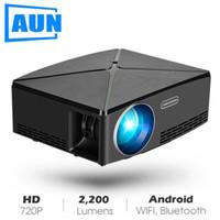 wifi tragbarer projektor android großhandel-AUN MINI Projektor C80 UP, Auflösung 1280x720, Android WIFI Projektor, LED Tragbarer HD Beamer für Heimkino, Optional C80Android WIFI