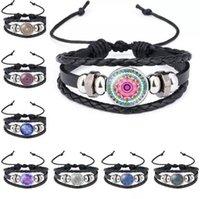 bracelets d'emballage indien achat en gros de-12 couleurs mandala bracelet indien yoga bouddhisme temps gemme verre cabochon bracelets ajustable wrap bracelets poignets bijoux de mode