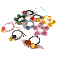 шарик для волос лук оптовых-1pcs Literary Retro Cute Bow Plaid Colorful Ball Rubber Elastic Hair Bands Ponytail Holders Hair Rope for Women Girl Accessories