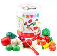 blocos pré-escolares venda por atacado-3 conjuntos de jogos de festa Bloco de Brinquedo Educativo De Madeira Brincar de Frutas De Frutas Conjunto De Vegetais Cortar O Brinquedo Da Cozinha Ecd Educação Pré-escolar