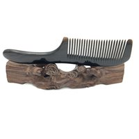 Wholesale natural horn hair comb - L-116 Natural Buffalo Horn Comb round handle Hair Care Accessories