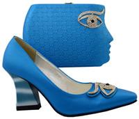 25 dress Australia - Nice looking sky blue african shoes match handbag set with rhinestone design ladies pumps set for dress BCH-25,heel 8.5CM