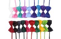 arcs de chien pour les cheveux achat en gros de-2018 réglable chien Pet Bow Neck accessoires collier collier chiot couleur vive Pet Bow Mix couleur cheveux aléatoires