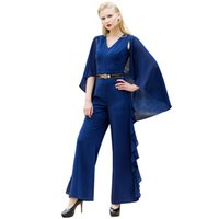Wholesale designed cloak online - Fashion OL Style Women s Jumpsuit Navy Ruffles Cloak Design Romper Bow Sleeveless Overalls Elegant Playsuit Outfit