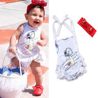 Wholesale Cheap Summer Clothes Kids - toddler infant baby girls rompers for newborn kids clothes cheap pure cotton princess English letter printed white rompers with headband