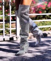 ingrosso stivali abbelliti-Blazer di lusso in pelle da donna Niki Slouch in pelle decorata con cristalli, stivaletti al ginocchio ricoperti di tacchi a cono, diamanti, scarpe da donna