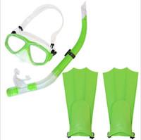 óculos de mergulho venda por atacado-Máscara de Snorkel crianças Máscaras de Mergulho de Natação Snorkeling Set Goggles Flippers Superfície de Mergulho Silicone Máscara Masque Crianças Treinamento