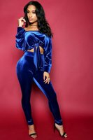 Wholesale off shoulder long tops for sale - Group buy Summer Sexy Two pieces of Pants with Tops off Shoulder Casual Women Suit Jogging Pants Blue S XL