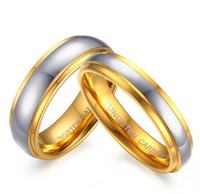 Wholesale gold plated ring 18k tungsten resale online - Wedding Ring mm mm gold plated Tungsten carbide wedding couple Ring for Men and woman comfort fit