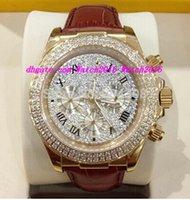 correa dorada de cuero para hombre reloj de lujo. al por mayor-Nuevo lujo 18k Rose Gold Pave Diamond Dial 116509 Reloj automático Mens Leather Strap Relojes deportivos para hombre