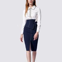 e7fee5d786 Herbst-Frühling, der elegante Frauen-formale Rock-Anzüge weißes  Hemd-gerader Rock dünnes Chic zwei Stücke entwirft Ausstattungen entwirft