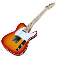 flamme ahorn gitarre großhandel-Cherry Sunburst E-Gitarre mit weißem Pickguard, Flame Maple Furnier, Binding Body, Chrome Hardwares, bieten maßgeschneiderte Dienste