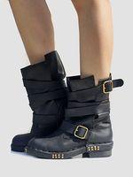 botas de vaquero botas al por mayor-Cuero genuino Punk Style Botines para mujer Punta cuadrada Botines planos Correas Diseño Botas Militares Martin Cowboy Shoes Mujer