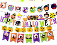 ingrosso decorazione della ghirlanda di halloween-Halloween appeso Pennant Skull bandiera Halloween Pumpkin Banner Hallowmas Party Garland Photo puntelli decorazioni accessorio bandiera