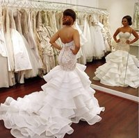 Wholesale strapless top wedding gowns resale online - 2018 Elegant Lace Mermaid Wedding Dress Tiered Open Back Strapless Wedding Gowns Top Appliques Long Wedding Bridal Wear
