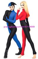 catsuit spandex giyinmek toptan satış-Seksi Palyaço Vücut Takım Kostümleri Yeni Mavi ve Kırmızı Lycra Spandex Palyaço Suit Catsuit Kostümleri Unisex Fantezi Elbise Parti Cosplay Kostümleri P320