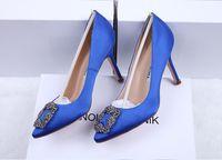 zapatos de novia de tacón alto de diamantes de imitación al por mayor-2018 NUEVA marca de italia Mercerized denim genuino zapatos de boda de SEDA plata Rhinestone Zapatos de tacón alto de la boda de las mujeres zapatos de novia CON Caja