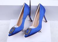свадебный туфель с высоким каблуком оптовых-2018 новый итальянский бренд мерсеризованная джинсовая натуральная шелковая свадебная обувь серебряный горный хрусталь высокие каблуки Женская обувь свадебные туфли с коробкой
