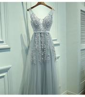 kraliyet mavi elbiseler artı boyutları toptan satış-Vestido De Festa V Boyun Dantel Boncuklu Lacivert Kraliyet Mavi Bordo Siyah Kırmızı Gümüş Gelinlik Modelleri Örgün Parti Törenlerinde Elbise Artı Boyutu