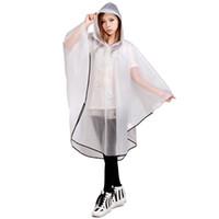 Wholesale Cloak Raincoat - Hooded Transparent Raincoat Women Rain Coat Waterproof Wiche Layer Cape De Wiche Chubasquero Cloaks For Women DDG400