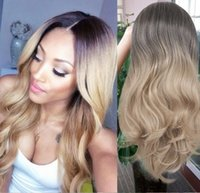 Wholesale wavy synthetic full lace wig resale online - Synthetic Wigs For White Or Black Female Full Wig Black Golden Ombre Color Long Wavy Heat Resistant Fiber Brazilian Hair None Lace Wig