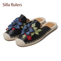 Wholesale round ruler - Silla Rulers fashion embroider flowers slippers low heel round toe appliques crystyal fisher shoes spring summer outside flats