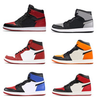 Wholesale embroidered top women - With OG Box 1s classic 1 Basketball Shoes top 3 gold shadow Chicago bred royal shattered backboard bred black toe women men sneakers