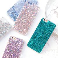 pavão para celular venda por atacado-Flashing pó glitter case para iphone 8 8 plus pavão verde silicone macio escudo do telefone móvel para 7 plus 6 plus 6 s hoesjes 427c
