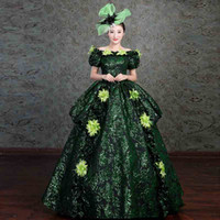Wholesale civil war ball gowns - Marie Antoinette Dress Women Floral Embroidery Medieval Civil War Southern Belle Ball Gowns 2018 New Reenactment Cosplay Clothing F278