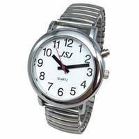 konuşan saatler toptan satış-Alarm Genişleyen Bilezik, Sier Renk, Beyaz Yüzlü Fransız Konuşan Saat