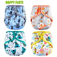 Wholesale baby cloth diapers insert resale online - Happy Flute Diaper Cover Insert Double Gussets Cloth Diaper Reusable Breathable Baby Diapers Fit kg Baby