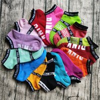 Wholesale Pink Hosiery - Love Pink Ankle Socks Women Sports Cotton Socks Pink Letter Football Cheerleaders Sock Slippers Girls Sexy Hosiery Summer Ship Socks