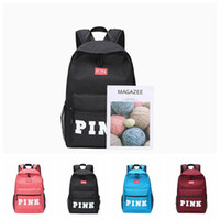 Wholesale burgundy bags - PINK Letter Backpacks 4 Colors Student Fashion Large Travel Backpack Girls Casual Fabric Shoulder Bags Outdoor Bags OOA5083