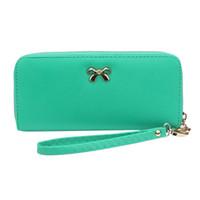 sevimli kore deri cüzdanları toptan satış-Kadınlar Kore Sevimli Ilmek Sikke çanta Katı Giyilebilir Kısa kız Cüzdan Çanta PU Deri Katı porte monnaie femme