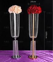 acryl blumen vasen großhandel-Acryl Kristall Hochzeit Blume Ball Halter 80 cm / 100 cm Tabellenmittel Vase Stehen Kristall Kerzenständer Hochzeit Dekoration Gold Silber