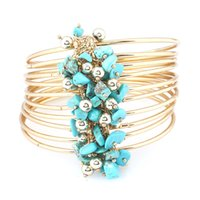 Wholesale vintage turquoise cuff bracelet - cuff Bracelet for women 2018 Fashion turquoise turquoise Mosaic MultiLayer Vintage Ethnic Statment Bracelets for Women Jewelry 2018 new