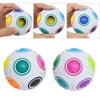 пазлы бесплатно веселья оптовых-Радужный Мяч Magic Cube Speed Football Fun Творческие Сферические Пазлы Дети Развивающие Игры Обучающие Игрушки для Детей Взрослых Подарки бесплатно DHL