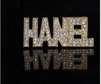 Wholesale Gold Lapel Pins - Luxury Brand Designer Double Layer Rhinestone Brooch Women Letters Diamond Gold Lapel Pin Jewelry Gift